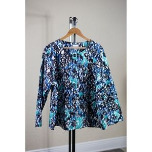 Breckenridge Long Sleeve Blue Pattern Cardigan 2X